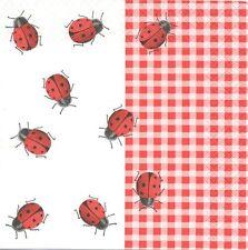 2 serviettes en papier Coccinelle Vichy Rouge Decoupage Paper Napkins Ladybugs