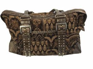 Kathy Van Zeeland Brown Belt Buckle Canvas Medium Satchel Shoulder Bag Womens