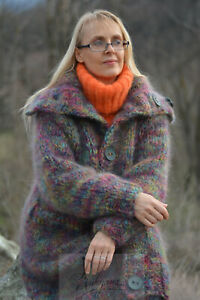DUKYANA Handknit Chunky Mohair Cardigan Knitted Coat Thick Collared sweater L-XL