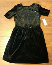 George girls black velvet sequins w/ bow dress size 10-12 large