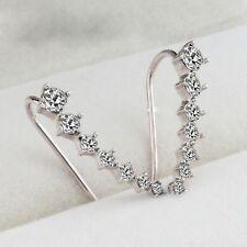 Trendy Women Four-Prong Setting 18K Gold Plated Ear Hook Stud Earrings Jewelry