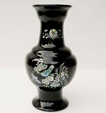 "12"" H. KOREAN MOTHER OF PEARL BIRDS ON BLOSSOMS TREE BLACK LACQUER VASE"