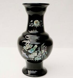 """12"""" H. KOREAN MOTHER OF PEARL BIRDS ON BLOSSOMS TREE BLACK LACQUER VASE"""