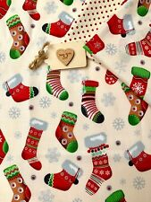 100% cotton xmas fabric ivory red stocking candy cane snowman craft patchwork