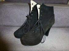 Shelly's black suede Victorian-style platform lace-up boots - size UK 4 / US 6