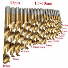 New 98Pcs 1.5MM-10MM Titanium Coated Metal High Speed Steel Drill Bit Set Tool