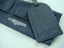Longines BLU PELLE bagagli Tag in Polvere Sacchetto