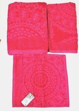 BOHO 3 PC SET MANDALA DESIGN NEON HOT PINK FUCHSIA,3D BATH,HAND TOWEL+WASH CLOTH