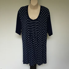 'MY SIZE' BNWT SIZE 'XS' (14) BLUE & WHITE  SHORT SLEEVE TOP WITH FRONT PLEATING