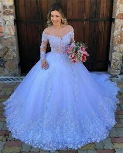 Princess Weddng Dresses Off the Shoulder Long Sleeves Lace Applique Plus Size