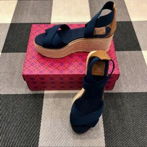 Tory Burch Frieda Espadrille Wedge Sandals NIB