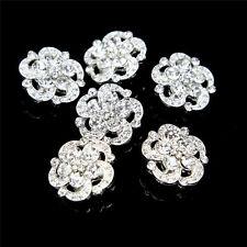 6 Pcs Silver Tone Alloy Rhinestone Flower Shank Buttons Craft