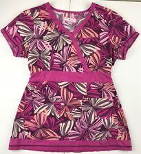 Koi S Small Rylee Scrub Top #147PR Shirt Uniform Butterflies Mock Wrap Tunic