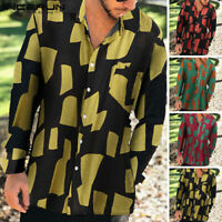 Mens Hawaiian Beach Long Sleeve Shirt Hippy Casual Loose Tops Holiday Tee Shirts