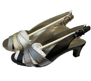 Ladies Lotus Valeria Peep Toe Sling Back Block Heel Leather Metallic Court Shoes
