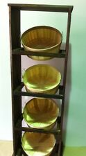 Stained Basket Wood Display with Shallow One Bushel Natural Wood