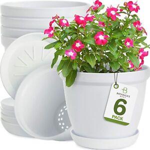 "BOTANICA'S BEST 6"" PLANT POTS FOR PLANTS SET OF 6 WHITE MODERN INDOOR & OUTDOOR"