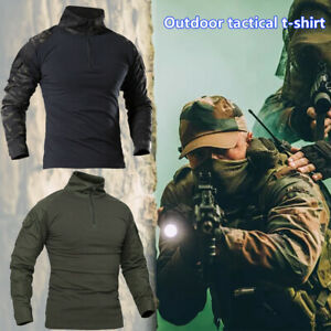 Mens Military Army Combat Shirt Tactical Long Sleeve Casual Quick-Drying T-Shirt