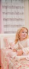 SHABBY & CHIC Ruffle Curtain (Set of 2)  - WHITE TAB CURTAINS - BRAND NEW
