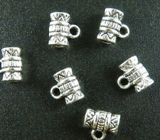 150pcs Tibetan Silver Tube Spacer Bails Jewelry DIY 8x8.5mm