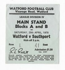 RARE Watford v Southport ticket: 1977-1978: Southport's last-ever League match