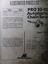 Mcculloch Chain Saw Pro 10 10 Automatic Parts Manual 2 Cycle Gas Chainsaw 1975