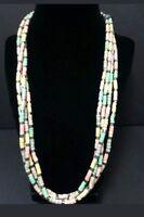 Vintage Multi Strand Pastel Beaded Necklace