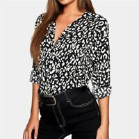 New V Neck T-Shirt Pullover Loose Top Elegant Blouse Fashion Long Sleeve Tops