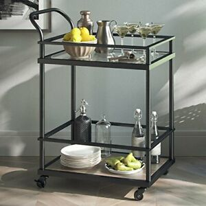 Nathan James Carter Rolling Bar and Serving Cart 2-Tiered Glass and Metal Bla...