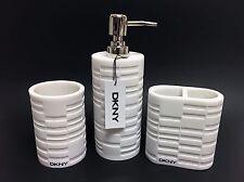 NEW 3 PC DKNY WHITE TEXTURED RESIN BATHROOM SOAP DISPENSER+TUMBLER+TOOTHBRUSH H