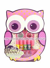 BE A HOOT! 10 Nail Art Design Kit NEON POLISH+DECALS+GLITTER+MORE Owl Shaped Box