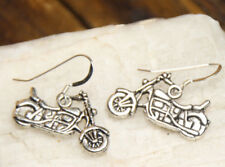 Motorcycle earrings biker 925 sterling silver pewter charms Street Bike Charm