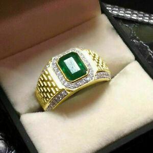 2 Ct Green Emerald & Diamond Mens Wedding Pinky Band Ring 14k Yellow Gold Finish