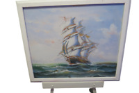 "Original Oil Painting On Canvas Clipper Ship At Sea Signed Artist Taylor 26""x 22"