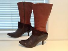Ladies Italian kinky leather boots - tan & choclate soooo soft!