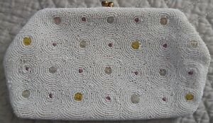 Vintage Seed Pearls Beaded Evening Bag Made in Belgium for Saks Fifth Avenue