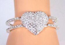 NEW Bracelet Made w/Clear Crystal Swarovski Elements Heart Valentine Bracelet