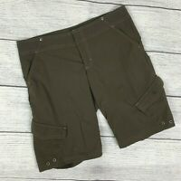 Athleta Bermuda Olive Shorts sz 4 Casual 6 Pockets Inner Drawstring