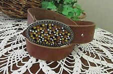 BROWN Leather Belt with AMBER BLING RHINESTONES THE BUCKLE SIZE MED Women's