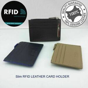 RFID Genuine Leather Slim Unisex Credit Card Wallet 8 Cards Notes Multi Colours