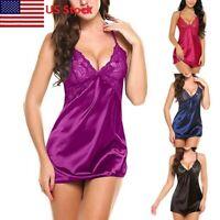 Sexy Lingerie Women Babydoll Nightgown Sleepwear Silk Lace Robe Dress Nightdress