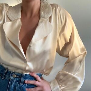 Vintage 100% Silk Beaded Cream Blouse Button Front