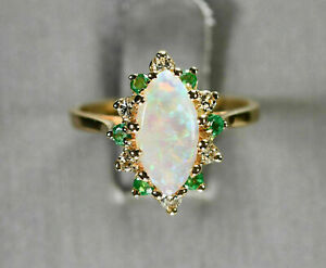 2 Ct Marquise Cut Fire Opal Wedding Engagement Cluster Ring 14K Yellow Gold Over