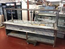 "Stainless Steel Steam Table 96"" 7 Pans 2 Burners 40,000 BTU w/ Sneeze Guard NSF"