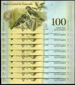 2 Million Venezuela 100000 VEF (100,000) Bolivares X 20 Pcs Bundle UNC 2017 Note