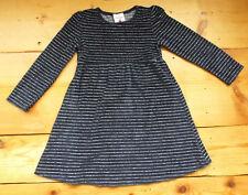 Topolino Nicki Kleid 128 dunkel blau Silber Streifen Glitzer Samt Velour Waldorf