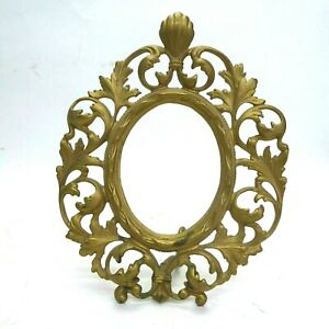 Vintage Victorian Gilt Cast Iron Metal Easel Stand Picture Frame