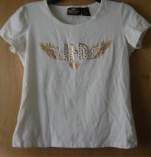 Women's Authentic Harley Davidson White/Gold Jeweled Casual Stretch T-Shirt M