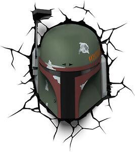 Disney Star Wars BOBA FETT Helmet Kids 3D Deco Light Up Crack Wall Nightlight