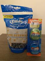😬 COMBO Oral B Glide Mint FLOSS PICKS 150 Pack + Dr. FRESH DENTAL FLOSS 2 Pack